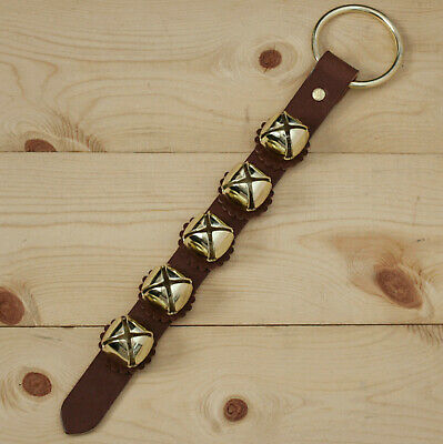 Arctic Sleigh Bell Leather Strap Hanging Door Chimes / Handmade in USA_BR/GD