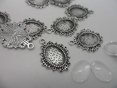 10 Earring~Pendant Making Kit,10 x Antique Silver Pendants & 14x10mm Cabochons .