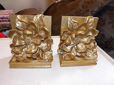 Gold Colored Book Ends with Magnolia Flower