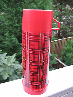 "Aladdin 1 Quart  Plaid Plastic Thermos 12"" Tall"