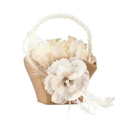 New Burlap Hessian Lace Flower Girl Basket Wedding Rustic Country Vintage