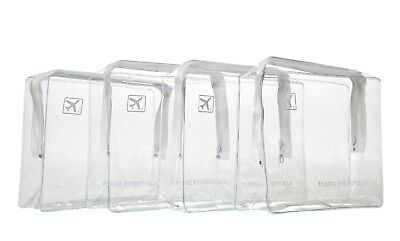 4 x HOLIDAY TRAVEL TOILETRIES BAGS - Clear Plastic Airline Airport Bag 17x14x5cm