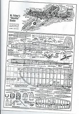 """Palmers SMOOTHIE FULL SIZED U-Control Model airplane plan 34"""" wing,"""