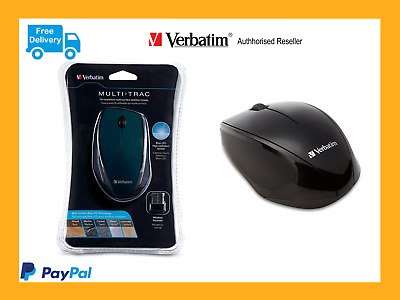 Genuine Verbatim Wireless Optical Multi-Trac Blue Computer Mouse - Black 97992