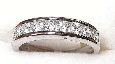Rhodium Plated 925 Hallmarked Silver Brilliant Cut Channel Set Eternity Ring