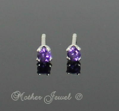 2mm REAL SOLID 925 STERLING SILVER Round Amethyst Purple CZ Girls Stud Earrings