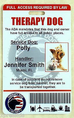 Therapy Support Dog Id Card Service Dog Id Badge Esa Ada Rated   0Therp