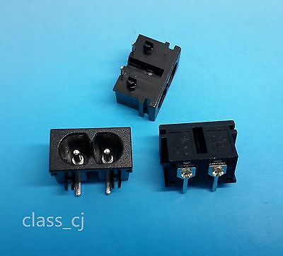 5Pcs AC250V 2.5A IEC320 C8 Male 2 Pins Right Angle Power Inlet Socket