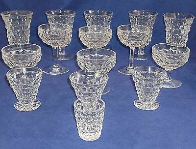 40 Pc Lot American Cube Pattern by Fostoria Clear Glassware Free Shipping