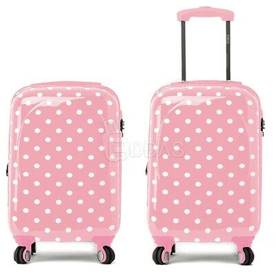 "EDDAS polka dot Pink 20"" Luggage Carry-On spinner wheel travel Hard Suitcase"