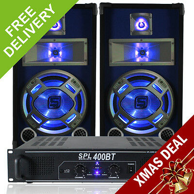 "2x Skytec 10"" Blue Speakers + SPL Bluetooth Amp + Cables 800W Essex"