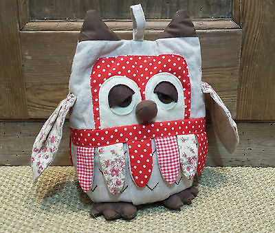 Ditsy Vintage Floral Owl Fabric Door Stop Weight Country Chic Patchwork