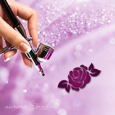 Airbrush klebe Schablonen - F286 - NAILART - 80 Stk. Ornament Floral Blüte Rose