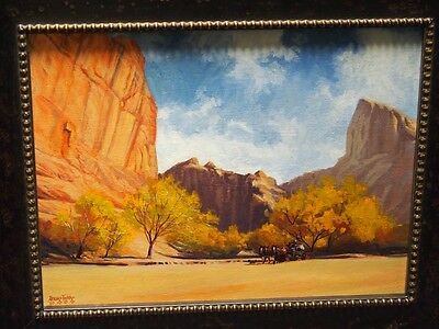 Irving Toddy Original Oil On Canvas Painting / Navajo/going Up The Canyon