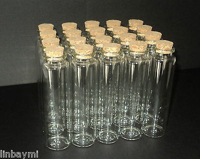 20 x 55ml CLEAR GLASS INVITATION MESSAGE BOTTLE/BOTTLES WITH A CORK IN.