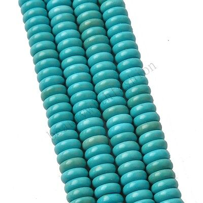 100% Natural Turquoise Gemstone Rondelle Spacer Loose Beads 6 8 10 12 14 16 mm