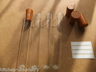 Test Tubes Heat Proof Pyrex Glass Choice of Rubber Bung or Caps Lids & Labels