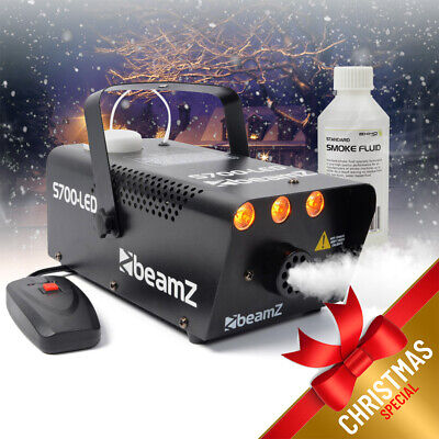 Beamz Smoke Machine with Flame Effect Lighting + 250ml Fluid Party Package