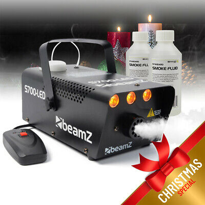 Beamz Smoke Machine with Flame Effect Lighting + 250ml Fluids Party Package