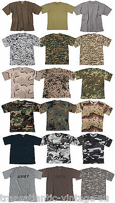 Classic Mens Army Camo T-Shirt Military Combat Tactical Field Patrol Cotton Tee