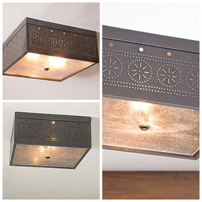 Double Ceiling Light With Chisel Design/4 Colors/primitive Country Lighting