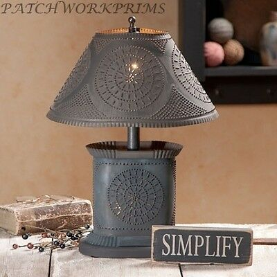 PETITE OVAL LAMP WITH PUNCHED TIN SHADE/PRIMITIVE COUNTRY COLONIAL LIGHTING