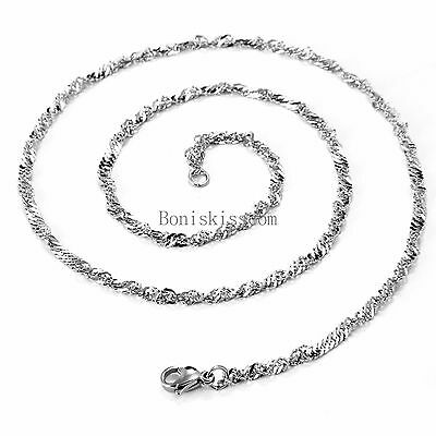 """Men's Women's Silver Hypoallergenic Stainless Steel Twisted Chain Necklace 22"""""""