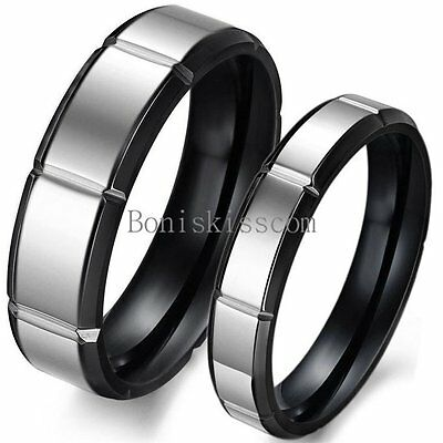 Retro Black & Silver Tone Stainless Steel Wedding Band Couples Engagement Ring