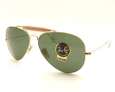 8b263a9d2d3a9 Ray Ban 3029 L2112 62mm Gold G15 Outdoorsman New 100% Authentic Made In  Italy