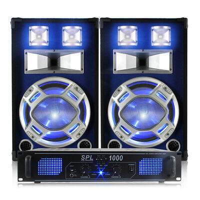 2x 12 Inch Skytec Speakers, LED Amplifier + Cables 1200W Essex