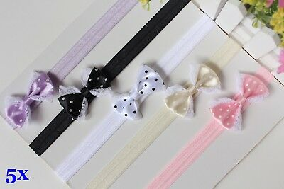 Wholesale x5 Newborn Baby Girl Headbands Infant Toddler Bow Elastic Hair Bands