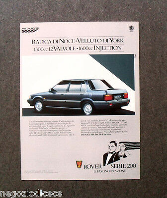 [GCG]  N241 - Advertising Pubblicità - 1986 - ROVER SERIE 200 , 1600 INJECTION