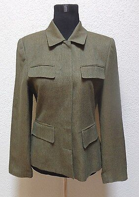 e4e1807284 LORD   TAYLOR Womens Jacket Blazer Sz 8 Olive Green Tweed Button Up ...