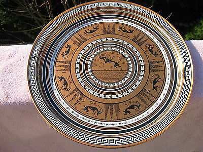 "VTG Grecian Etruscan Copper Color Metal Greek 13"" Round Tray Tuscany Style Decor"