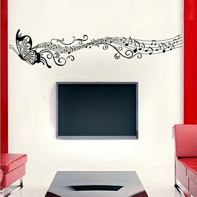 Music Butterfly Wall Decal Sticker Home Room Art Decor Vinyl Removable Black