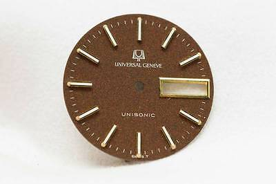 Universal Geneve Vintage Unisonic Brown Day Date dial 28mm - New Old Stock
