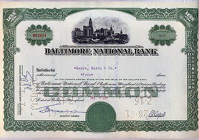 Baltimore National Bank Stock Certificate Green Maryland