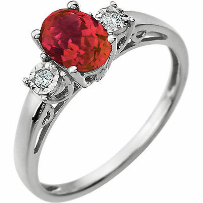 Red Ruby Oval Created Gem & Genuine Diamonds .04 ctw Accents Ring 14K White Gold