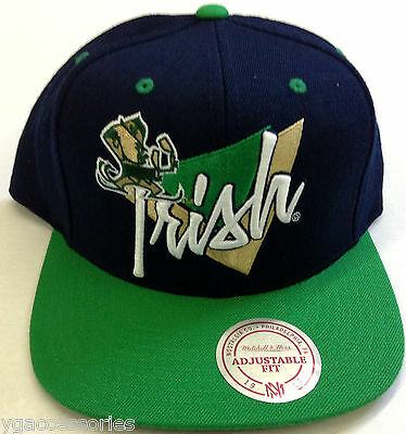 01fb8e7ddb8 NCAA Notre Dame Fighting Irish Mitchell and Ness Snapback Cap Hat M N NEW