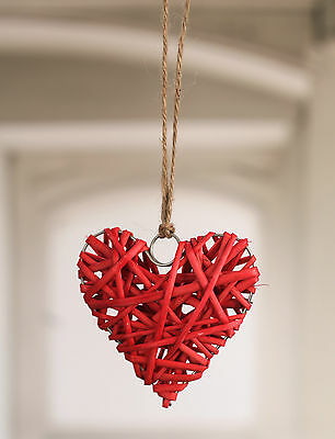 Hanging Woven Heart Home Decor Gift 10cms BRAND NEW Three Colours available
