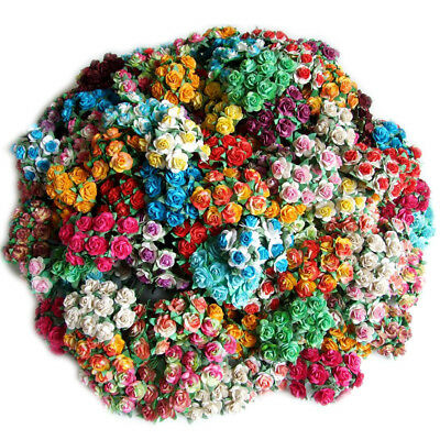 100 Mixed Color Artificial Mulberry Paper Rose Flower Wedding Scrapbook 1.5Cm