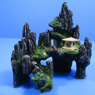 Aquarium Ornament House Mountain View - Rock Cave Bridg Fecoration Fish Tank