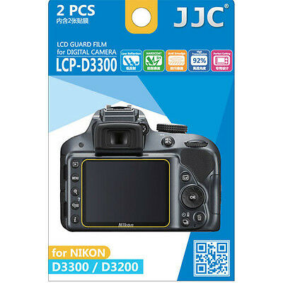 JJC LCP-D3300 Ultra hard polycarbonate LCD Film Screen Protector Nikon D3300 2PK