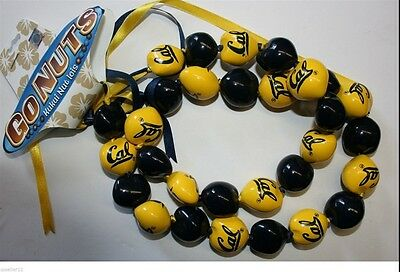 Col California Berkely Bears Go Nuts Kukui Nut Lei Necklace Beads Original Cal