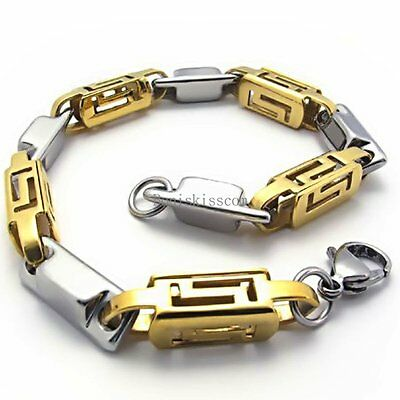 Men's Stainless Steel Silver & Gold Tone Hollow Greek Symbol Link Bracelet 8.5""