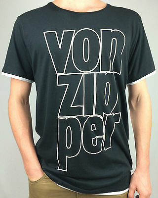 VON ZIPPER. Men's PREMIUM Quality 100% Cotton T-Shirt. BLACK. S, M, L & XL.