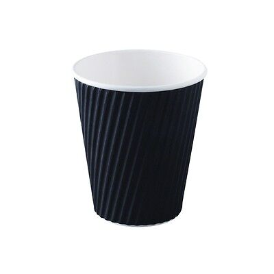 40 x 8oz  DISPOSABLE TAKEAWAY COFFEE CUPS AND LIDS - BLACK RIPPLE WRAP