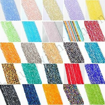100 Pcs Multi-Color Bicone Crystal Glass Spacer Loose Beads Charms Findings 4 mm