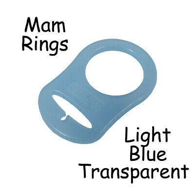 1 MAM Ring Button Style Pacifier Clip Adapter - Light Blue Transparent Silicone