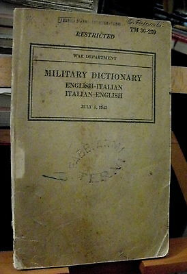 DIZIONARIO MILITARE MILITARY DICTIONARY english/italian-italian/english / 1943